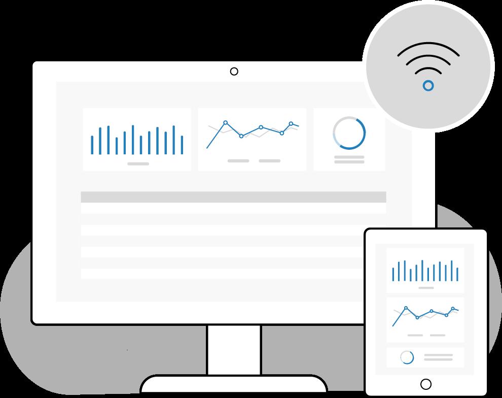 illustration tableau de bord de données en ligne