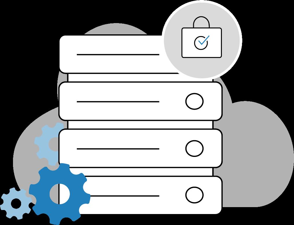 illustration stockage des données sur serveur hébergé et sécurisé